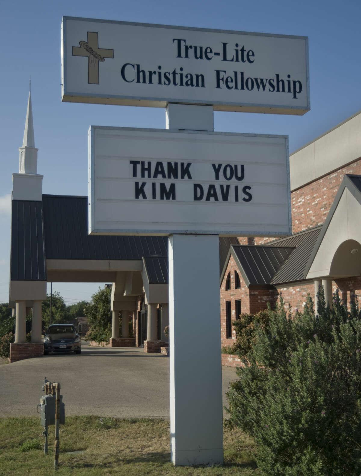 True-Lite Christian Fellowship displays a sign Wednesday 9-16-2015 showing their support for Kentucky county clerk Kim Davis. Tim Fischer\Reporter-Telegram