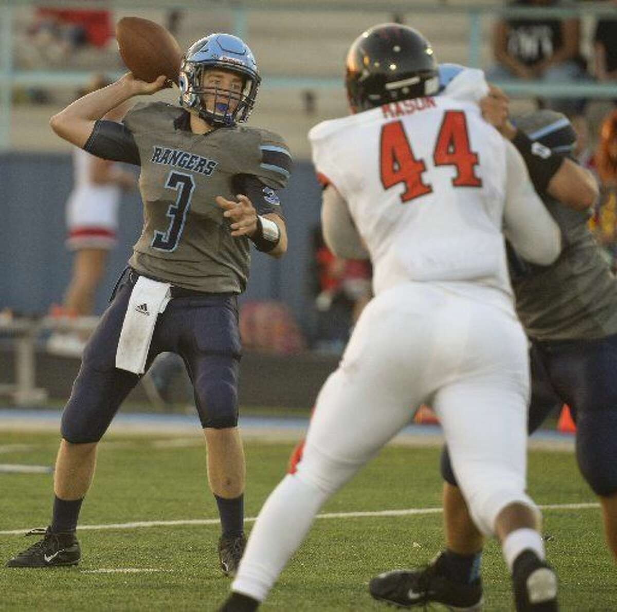 Greenwood's Ben Brockman gets ready to throw a pass against Brownfield on Friday, Sept. 4 at J.M. King Memorial Stadium.