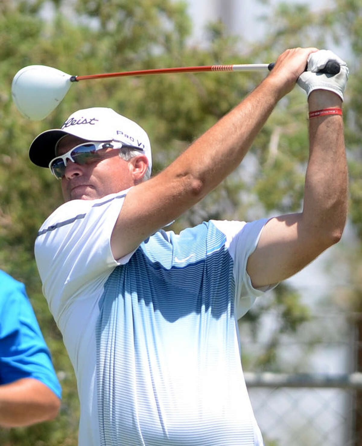 John McLeod tees off during the Ranchland Hills Blowout on Saturday at Ranchland. James Durbin/Reporter-Telegram