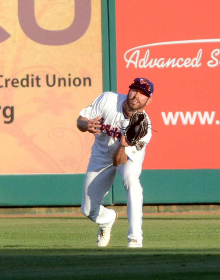 Rockhounds' Kent Matthes fields the ball against Corpus Christi on Thursday at Security Bank Ballpark. James Durbin/Reporter-Telegram Photo: James Durbin