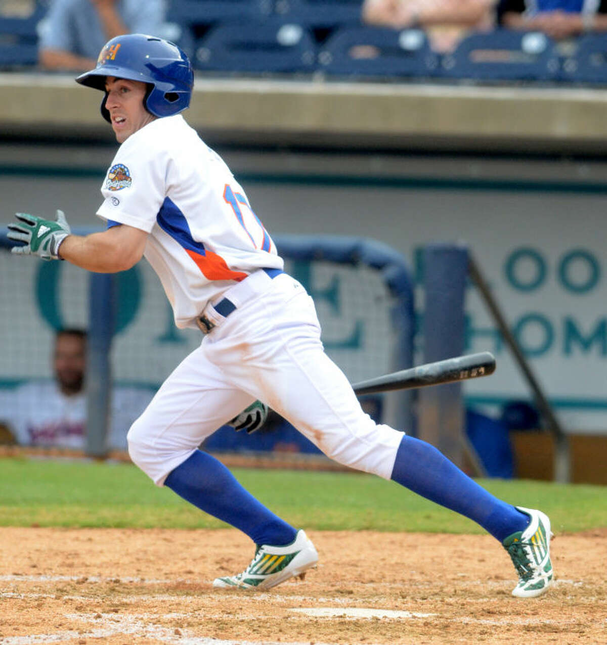 Rockhounds' Billy Burns puts the ball in play against the Frisco Rough Riders on Tuesday at Security Bank Ballpark. James Durbin/Reporter-Telegram
