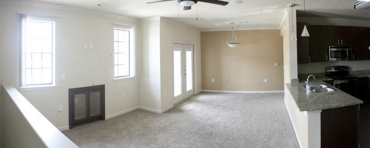 Interior panoramic view of a one-bedroom unit at Le Mirage Apartment Homes, photographed July 29, 2014. James Durbin/Reporter-Telegram