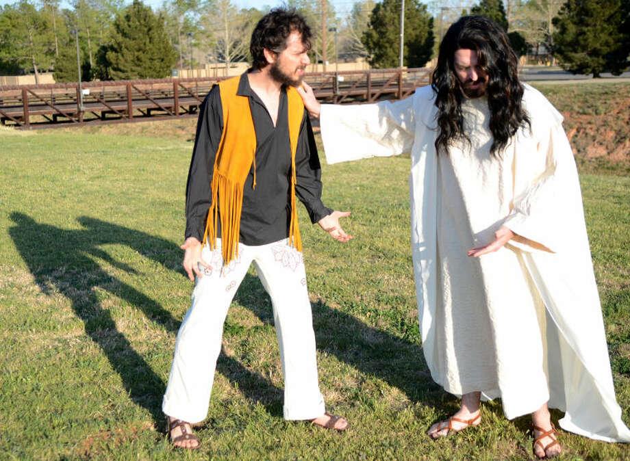 Jesus (Matthew Nicholson), confronts Judas (Mitchell Hurricane Smith). James Durbin/Reporter-Telegram Photo: JAMES DURBIN