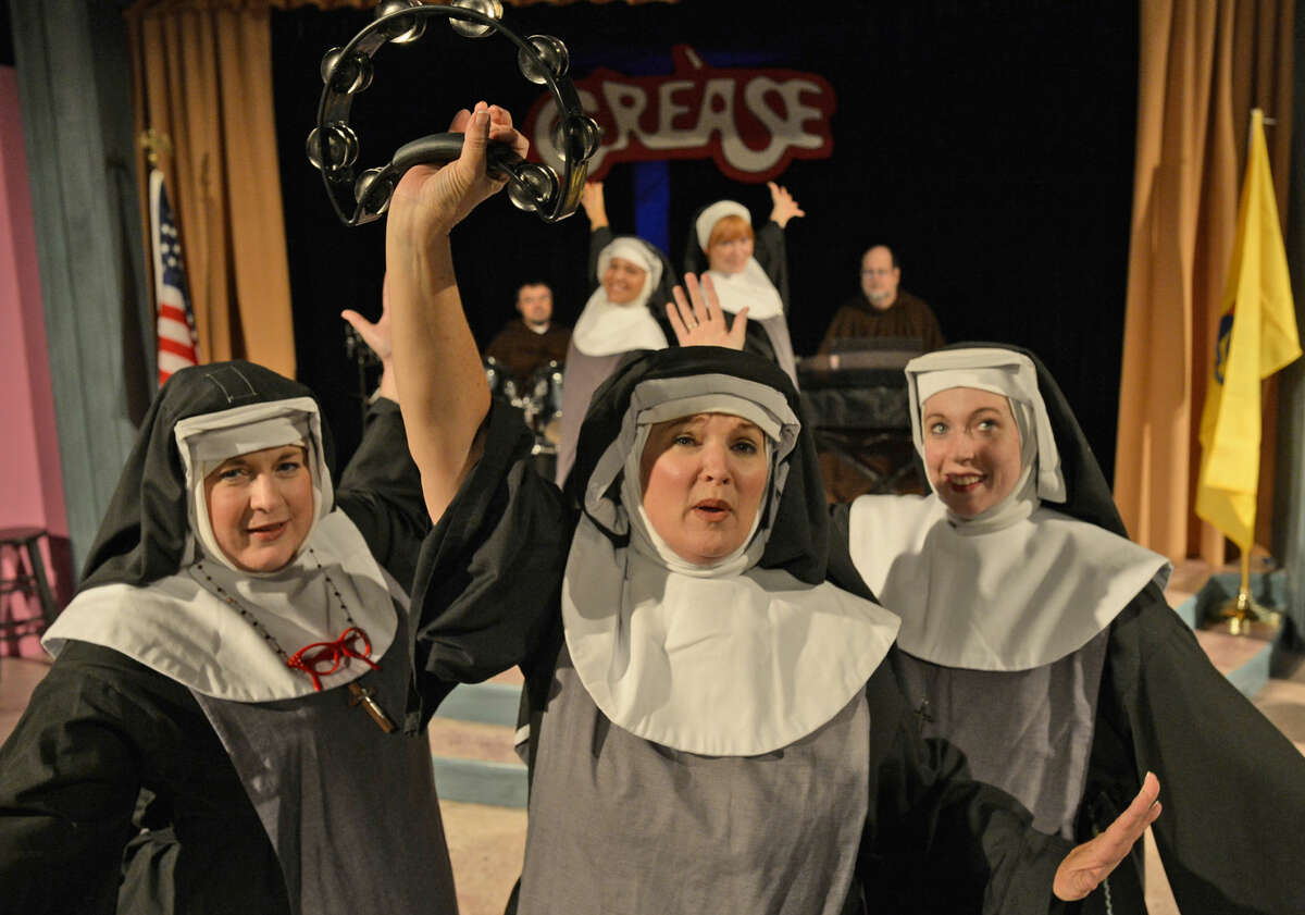 Jeri Morgan, left, stars as Mother Superior in Midland Community Theatre's 'Nunsense' with Patrice Compton, center, and Sarah Ross. From left, Cody Tumlin, Vicky Martinez, Sara Hone and Scott Aycock also appear in the musical comedy.