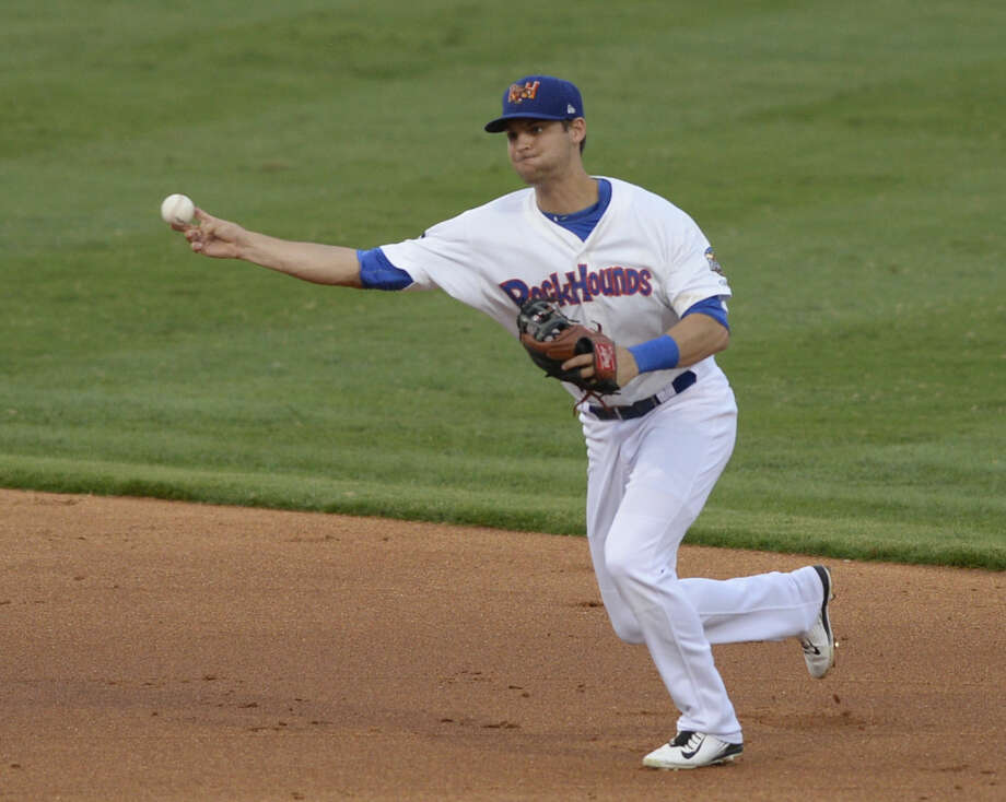 Rockhounds Chad Pinder fields the ball against Corpus Christi in game three of the Texas League South Division Championship Series on Friday, Sept. 11, 2015 at Security Bank Ballpark. James Durbin/Reporter-Telegram Photo: James Durbin