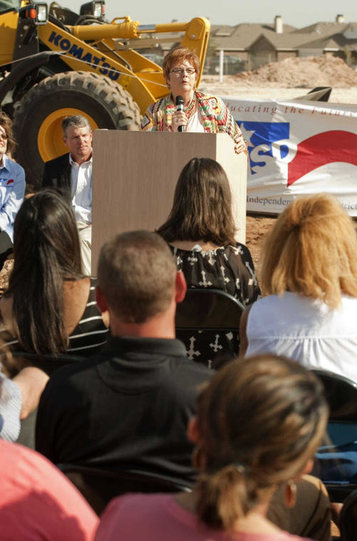 Jill Arthur, named principal of the new elementary school on the southwest side of Midland, speaks Wednesday at the bround breaking ceremony. Tim Fischer\Reporter-Telegram