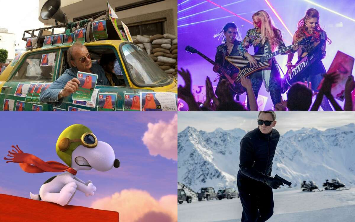 From clockwise left, 'Rock the Kasbah,' 'Jem and the Holograms,' 'Spectre' and 'The Peanuts Movie' are all part of the Fall movie season.