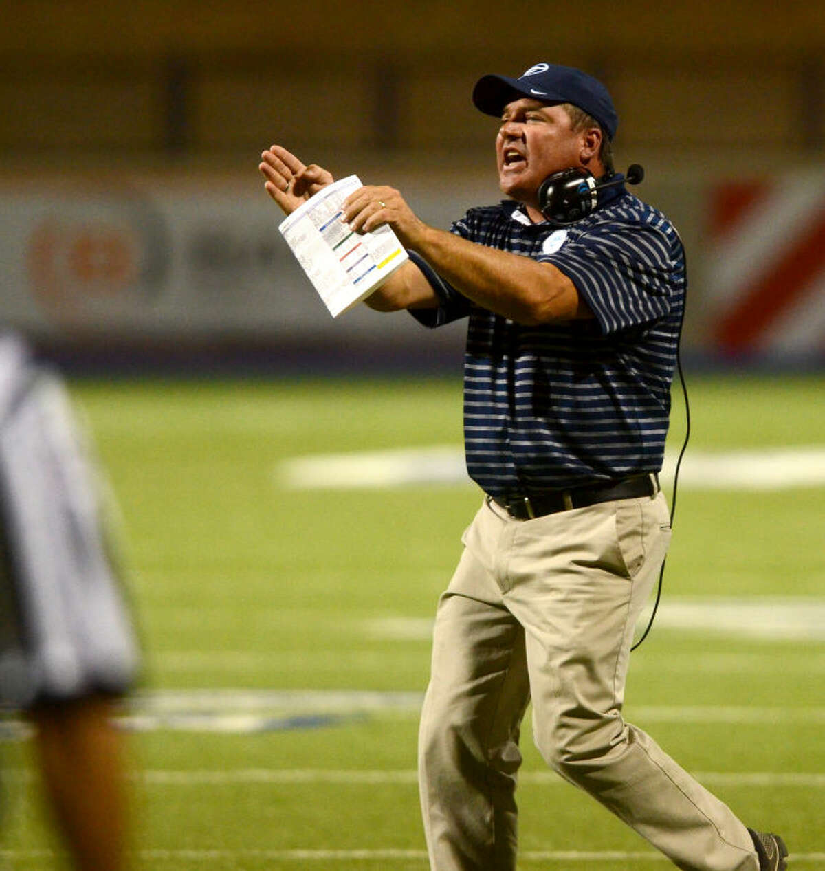 Greenwood football head coach Shad Hanna reacts on the sidelines during the game against Kermit Thursday at Grande Communications Stadium. James Durbin/Reporter-Telegram