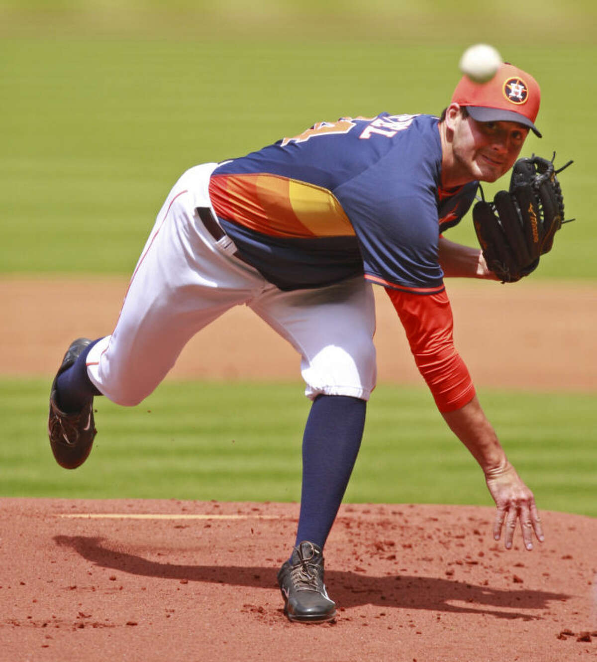 Houston Astros Mark Appel pitches against the Rojos del Aguila de Veracruz during an exhibition game at Minute Maid Park Sunday, March 30, 2014, in Houston. ( Melissa Phillip / Houston Chronicle )