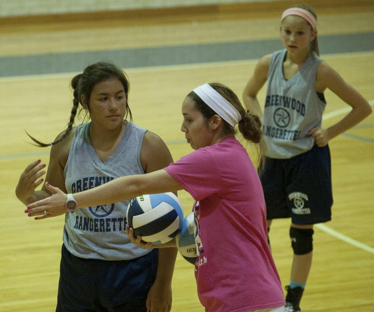 Greenwood volleyball coach Pam Schelhouse works with her players Thursday during practice. Tim Fischer\Reporter-Telegram