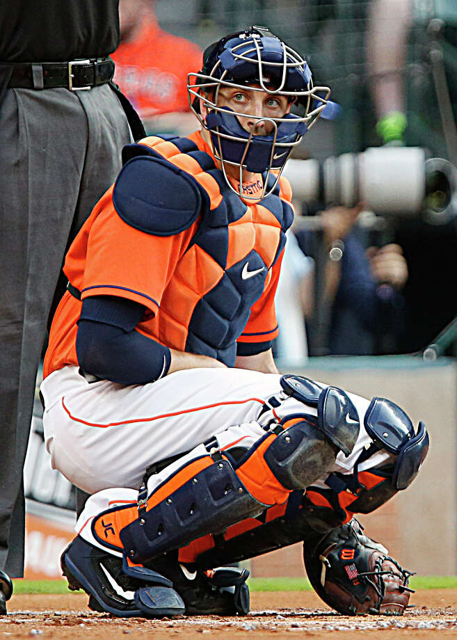 Houston Astros catcher Jason Castro looks towards the dugout during the first inning of MLB game action against the Seattle Mariners at Minute Maid Park Friday, May 6, 2016, in Houston. Photo: James Nielsen, Houston Chronicle / © 2016  Houston Chronicle