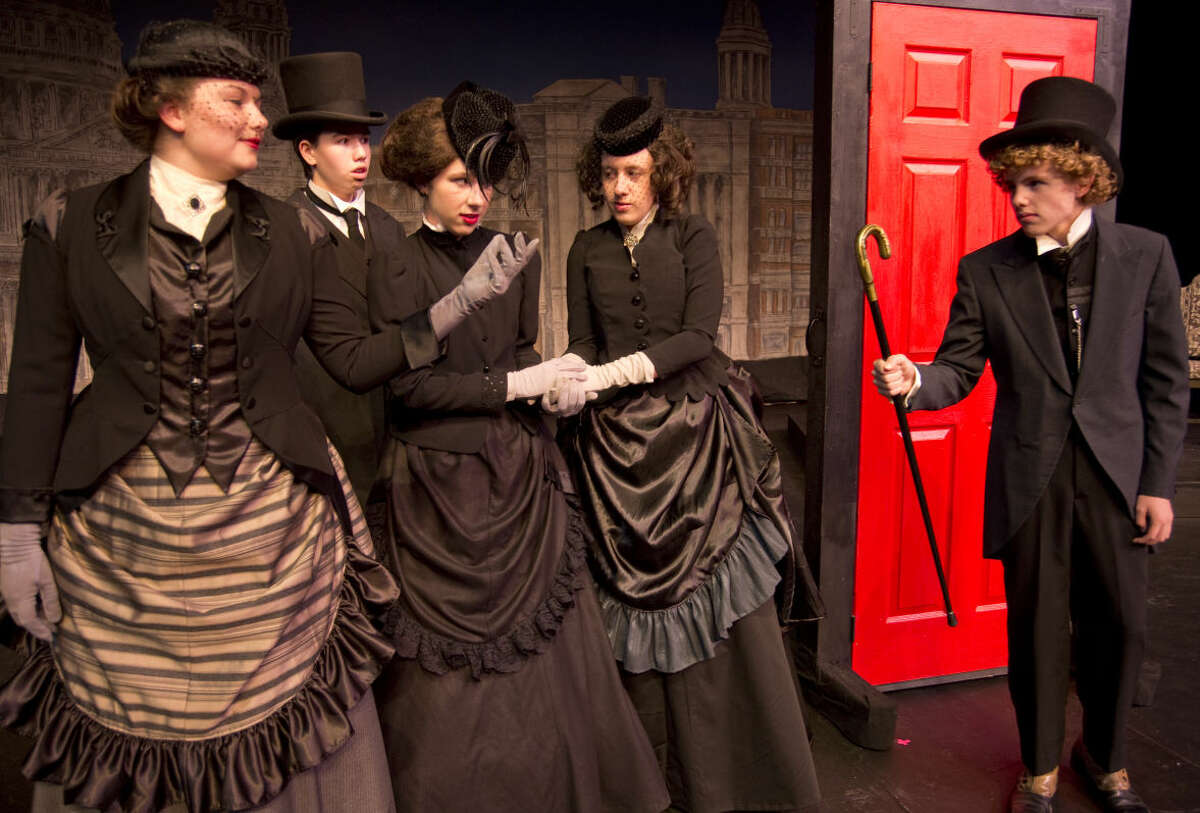 Kyle McDuffey, left, as Enfield, comes to the aid of people on the street, Jordan Sanz, Morgan Kuehler and Amber Struble, who had a run in with an angry Edward Hyde played by Chris Cheek in Pickwick Players production of Dr. Jekyll and Mr. Hyde. Tuesday 9-22-2015. Tim Fischer\Reporter-Telegram