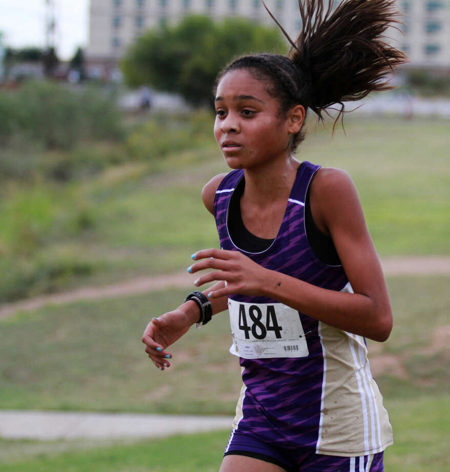 Midland High's Jenia Mitchell finished third in the girl's small school race at the Odessa Invitational Cross Country on Thursday evening at UTPB Park. Photo: Jacob Ford/Odessa American