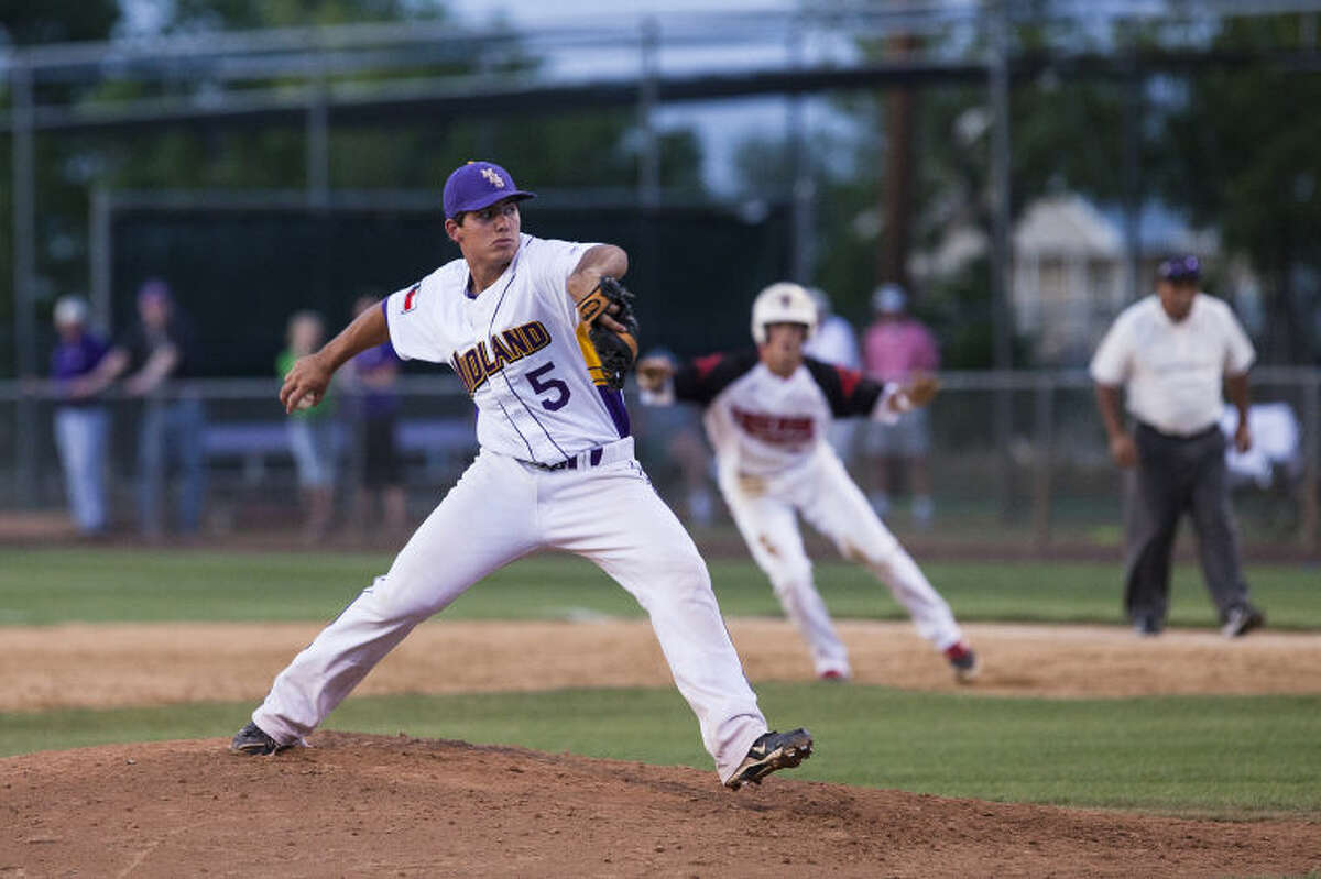 (File Photo) Midland High pitcher Lance White throws a pitch Friday evening during a playoff game against Amarillo Tascosa at Hardin Simmons University in Abilene. photo by Gary Rhodes