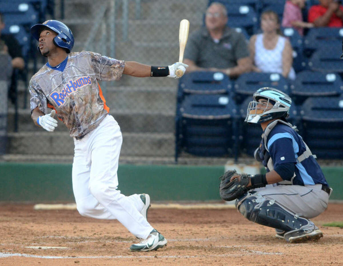Rockhounds' D'Arby Myers puts the ball in play against Corpus Christi on Friday at Security Bank Ballpark. James Durbin/Reporter-Telegram