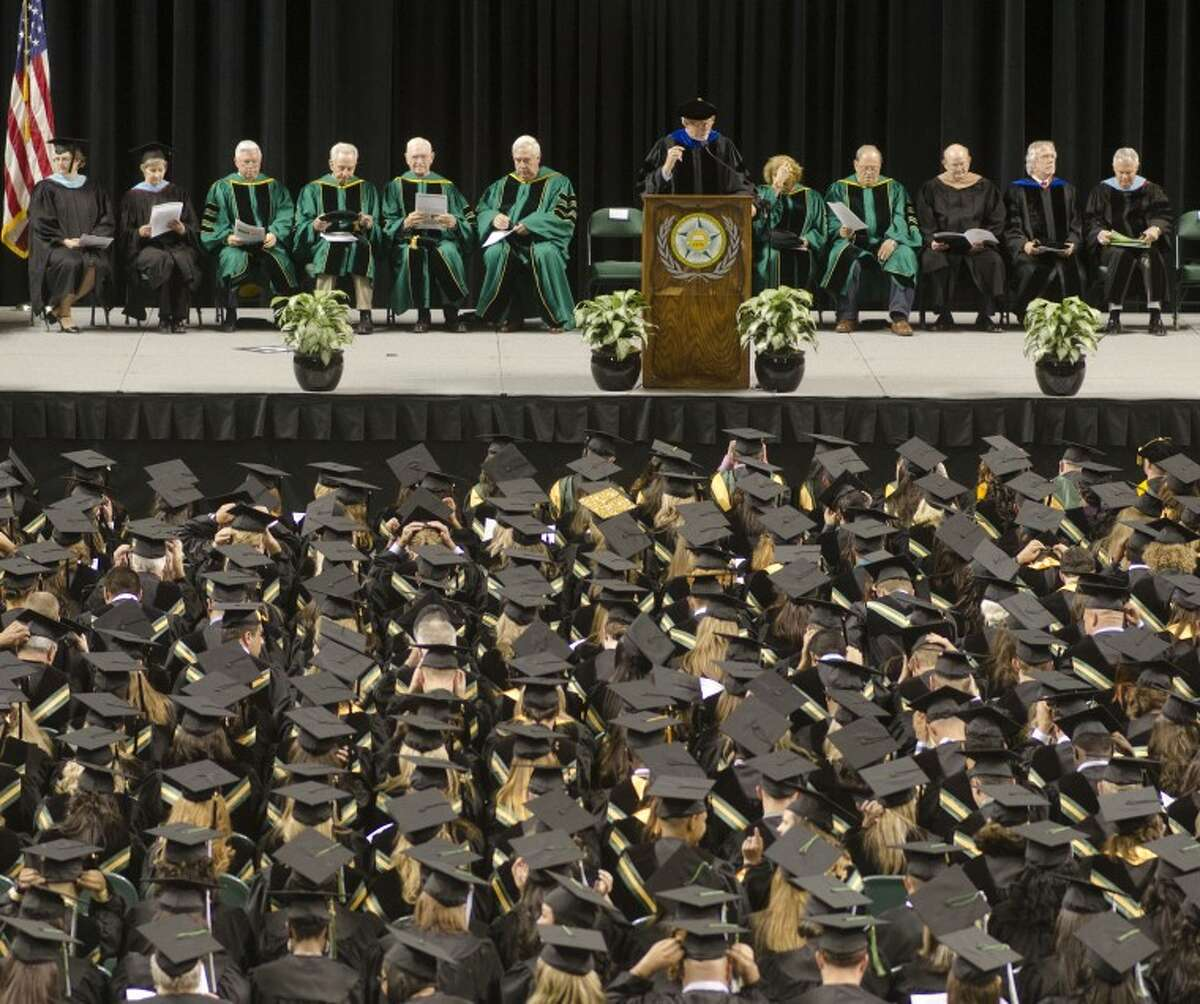 Midland College President Steve Thomas welcomes and congratulates graduates Friday evening at the 39th commencement ceremony. Photo by Tim Fischer/Midland Reporter-Telegram