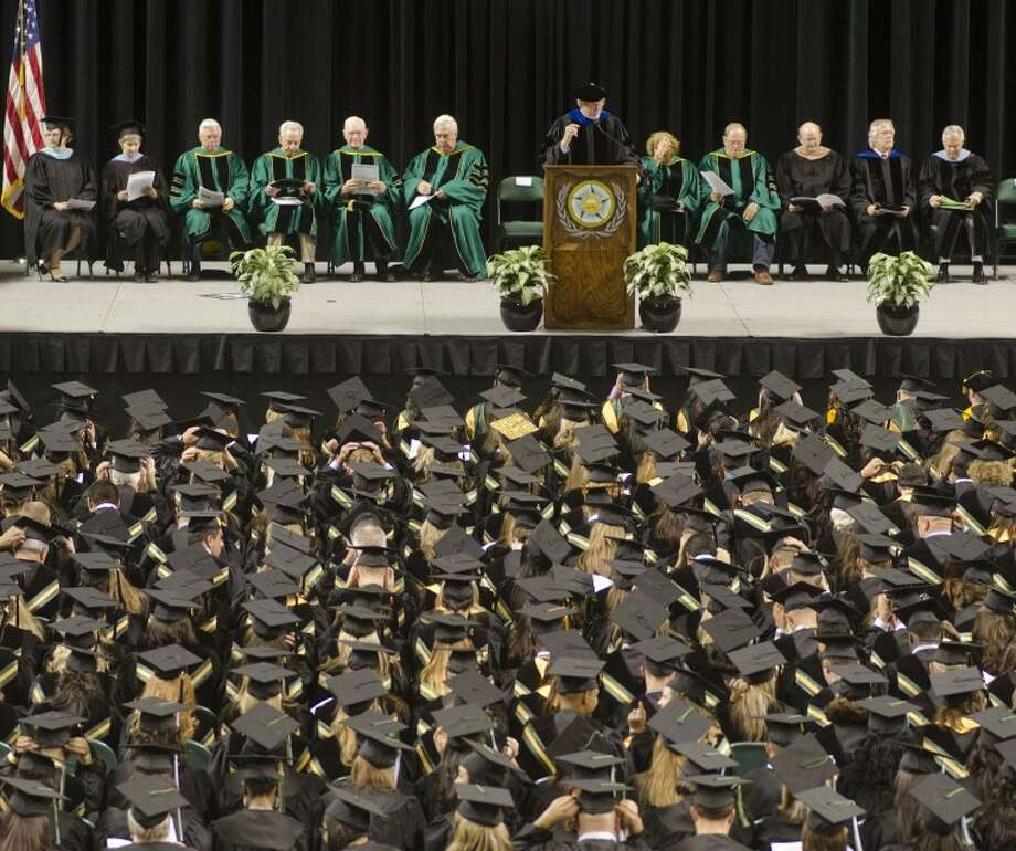 Midland College President Steve Thomas welcomes and congratulates graduates Friday evening at the 39th commencement ceremony. Photo by Tim Fischer/Midland Reporter-Telegram Photo: Tim Fischer