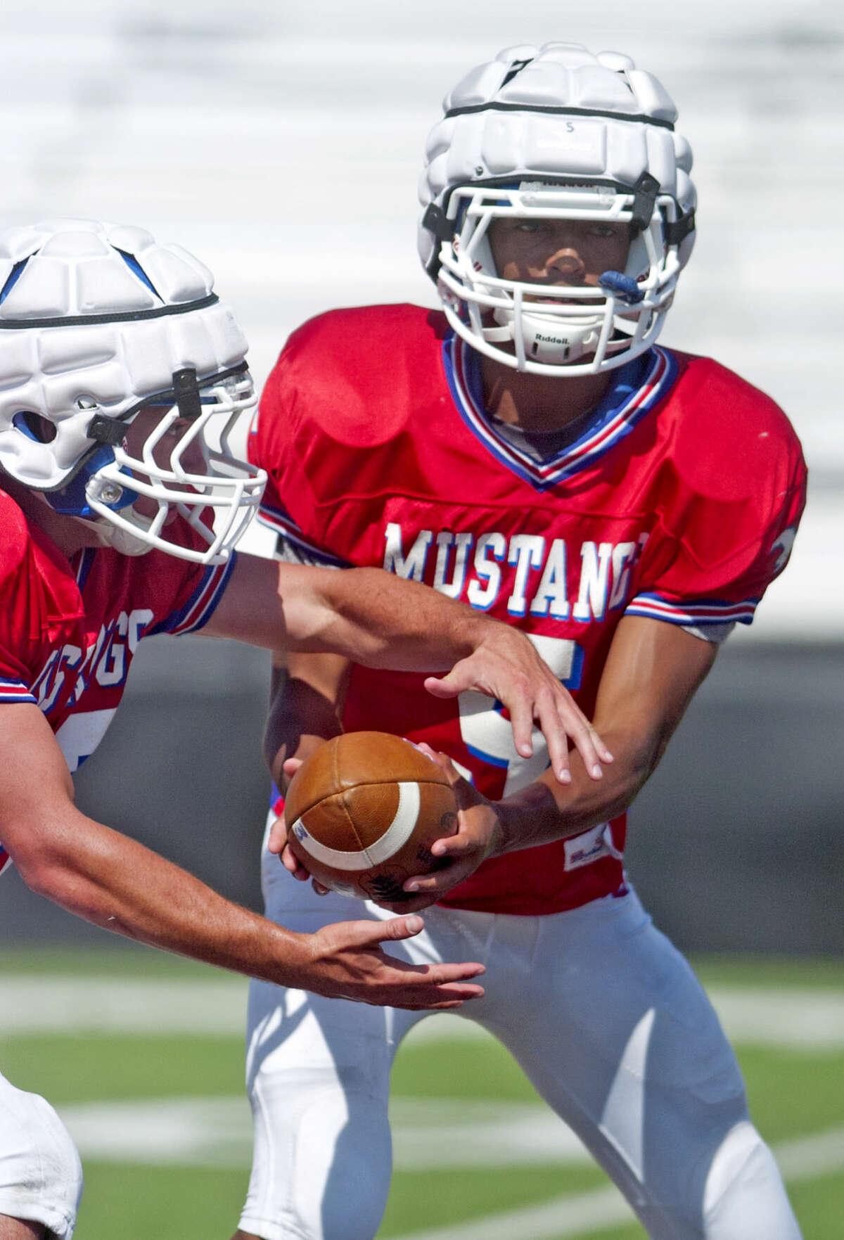 Midland Christian quarterback Garry Powell during practice Wednesday at Mustang Field. James Durbin/Reporter-Telegram