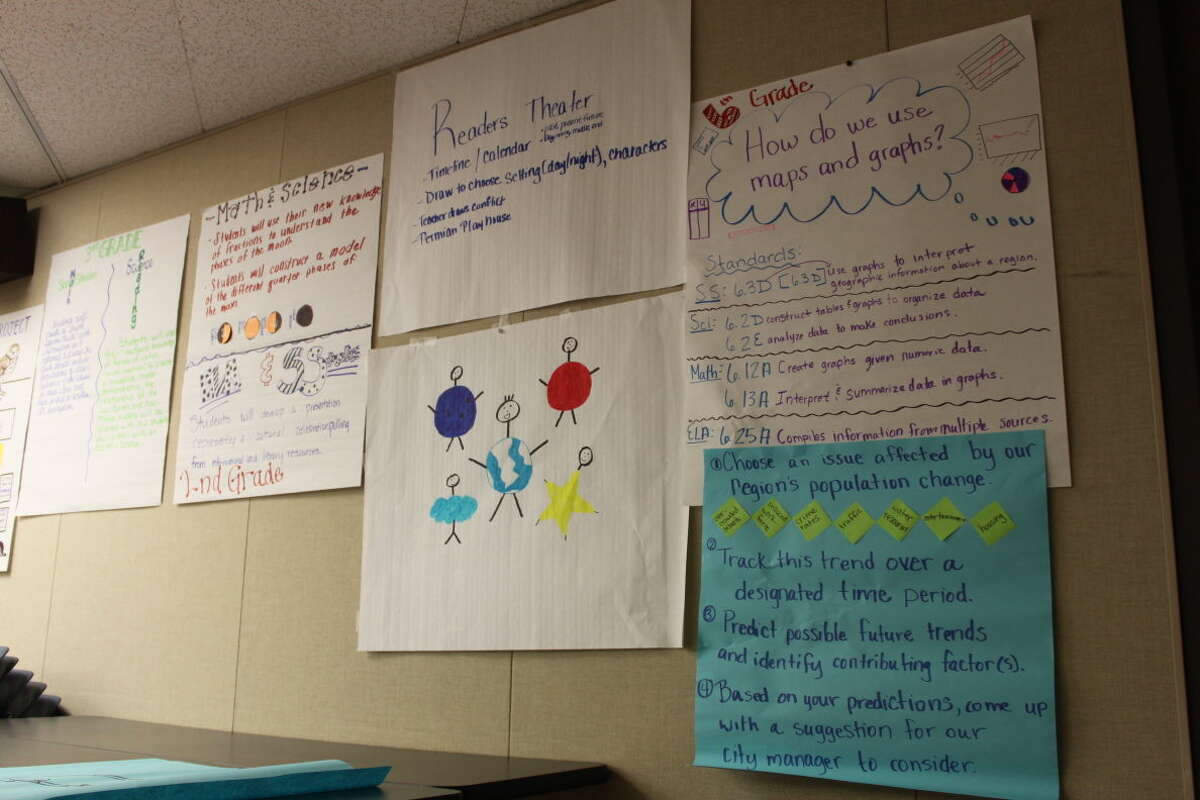 Artwork and teaching plan methods are shown on a bulletin board at the STEM Academy workshop taught by University of Texas Tyler teachers.