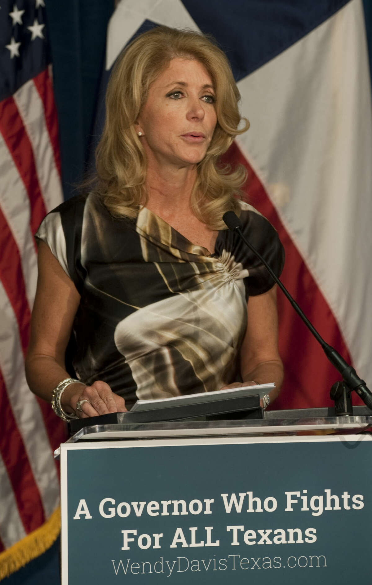 Wendy Davis, candidate for Texas Governor, speaks Tuesday at a press conference at the Odessa Crisis Center. Tim Fischer\Reporter-Telegram