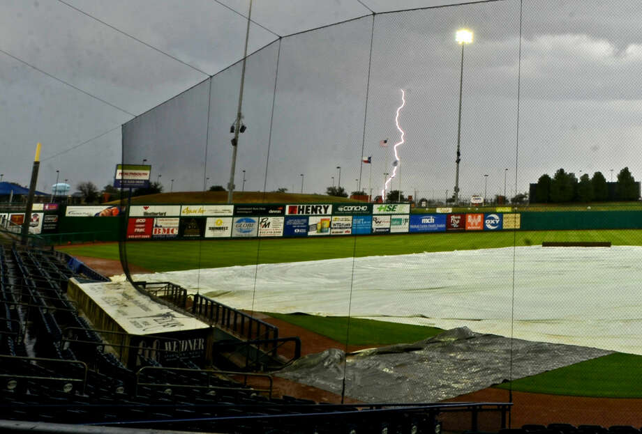 Lightning strikes over Security Bank Ballpark on Wednesday. The Rockhounds game against Corpus Christi was rescheduled due to rain. James Durbin/Reporter-Telegram Photo: James Durbin