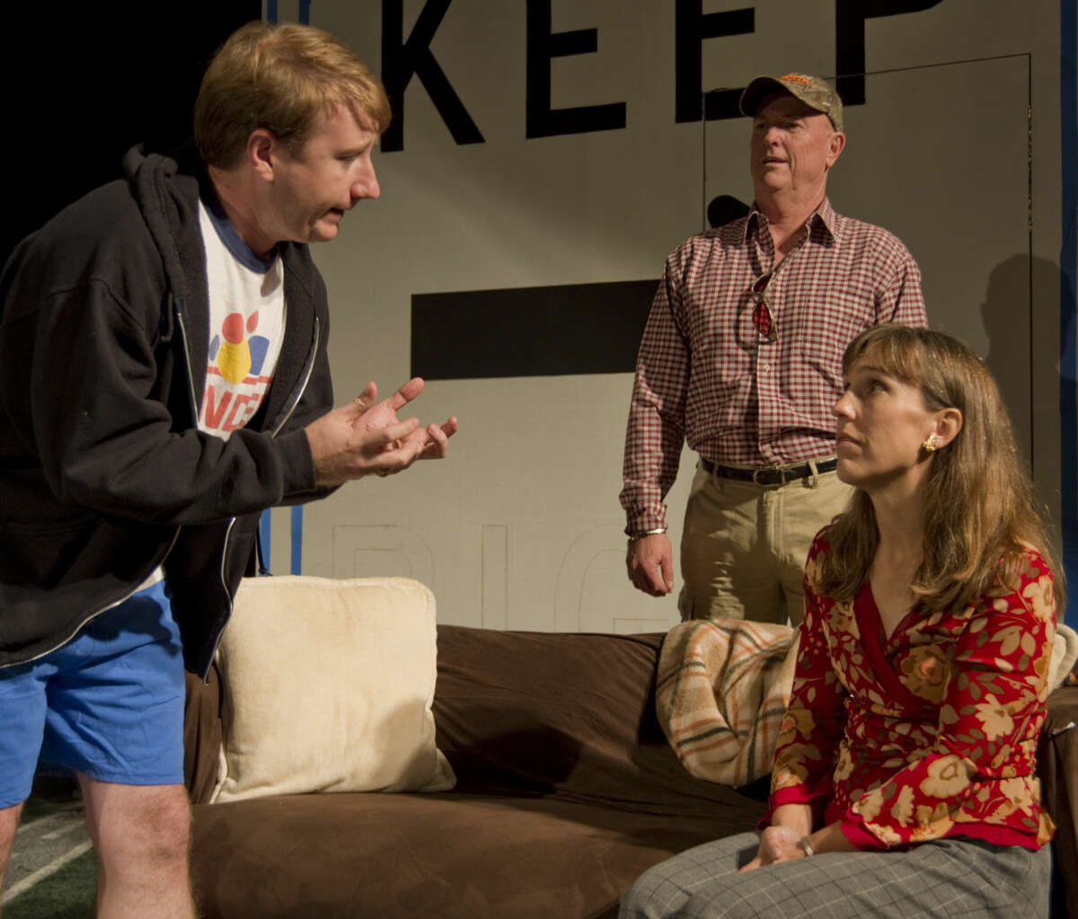 Jason Kelliher as Chris, pleads with his parents, Pam Keel as Becky and Michael Fields as Joe in MCT's production of 'Becky's New Car.'