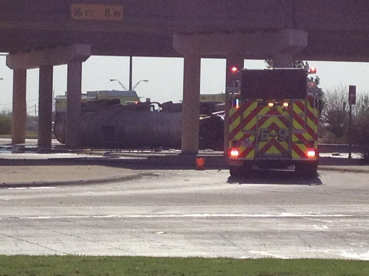 A tanker carrying crude oil overturned Friday morning at Loop 250 and Highway 191.