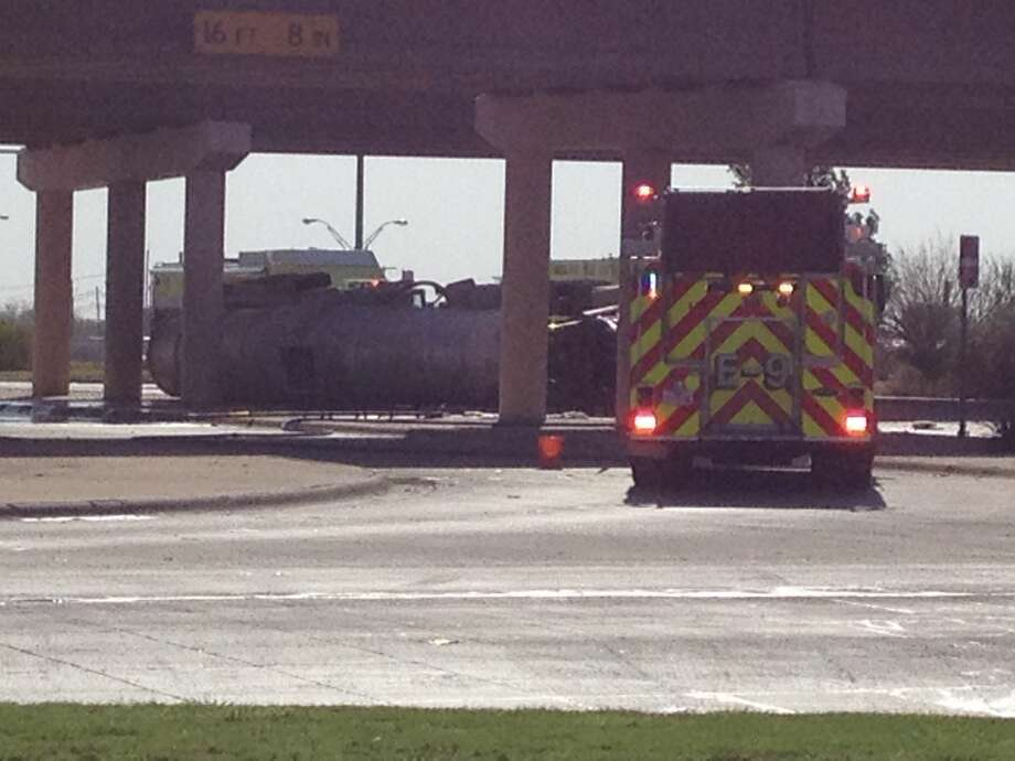 A tanker carrying crude oil overturned Friday morning at Loop 250 and Highway 191. Photo: Tim Fischer/Reporter-Telegram