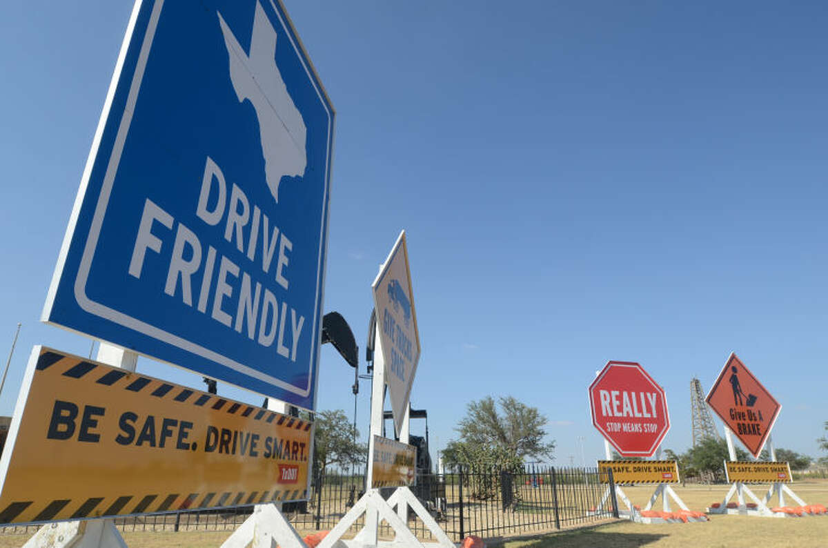 The Texas Department of Transportation displayed traffic safety signs in front of the Petroleum Museum on Saturday. James Durbin/Reporter-Telegram