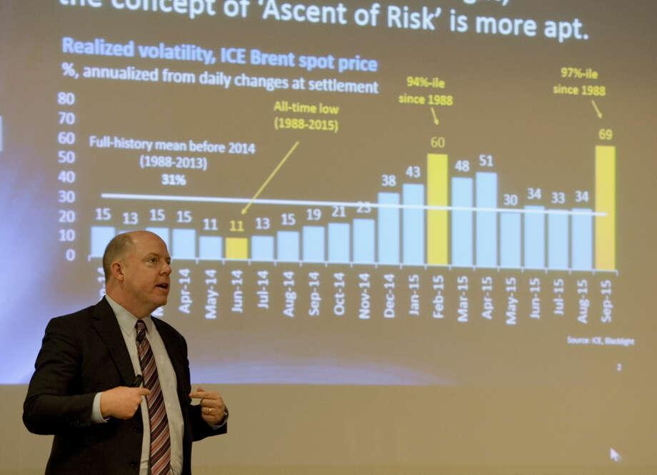 Colin Fenton, strategic advisor with Blacklight Research LLC, speaks Thursday 10-15-2015 at the PBPA annual meeting luncheon. Tim Fischer\Reporter-Telegram Photo: Tim Fischer