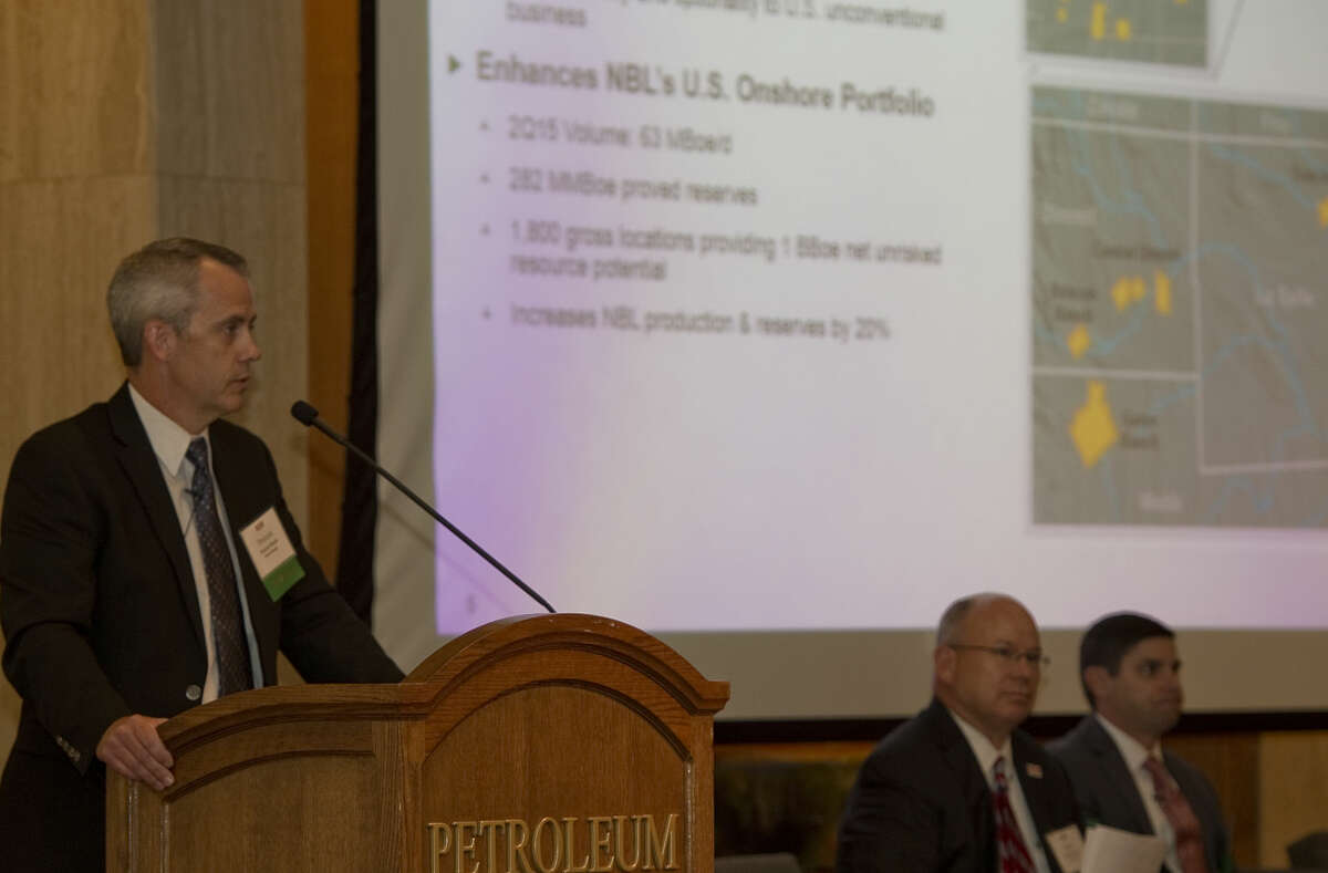 Donnie Moore, vice president Marcellus & Texas business units with Noble Wnergy speaks Thursday 10-15-2015 at the Permian Basin Petroleum Association annual meeting. Tim Fischer\Reporter-Telegram