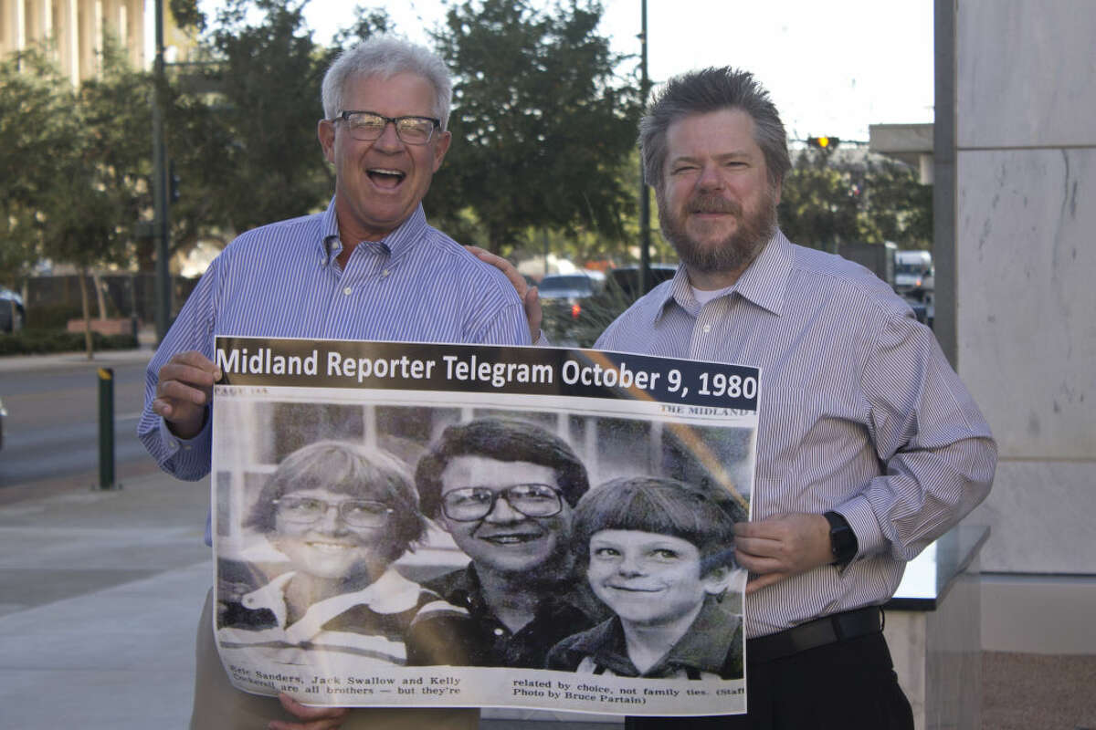 Jack Swallow's, left, experience with Big Brothers Big Sisters of Midland led to his longtime friendship with Kelly Cockerell, his former 'little brother.' They pose with a picture of themselves from a 1980 Midland Reporter-Telegram piece on their match.
