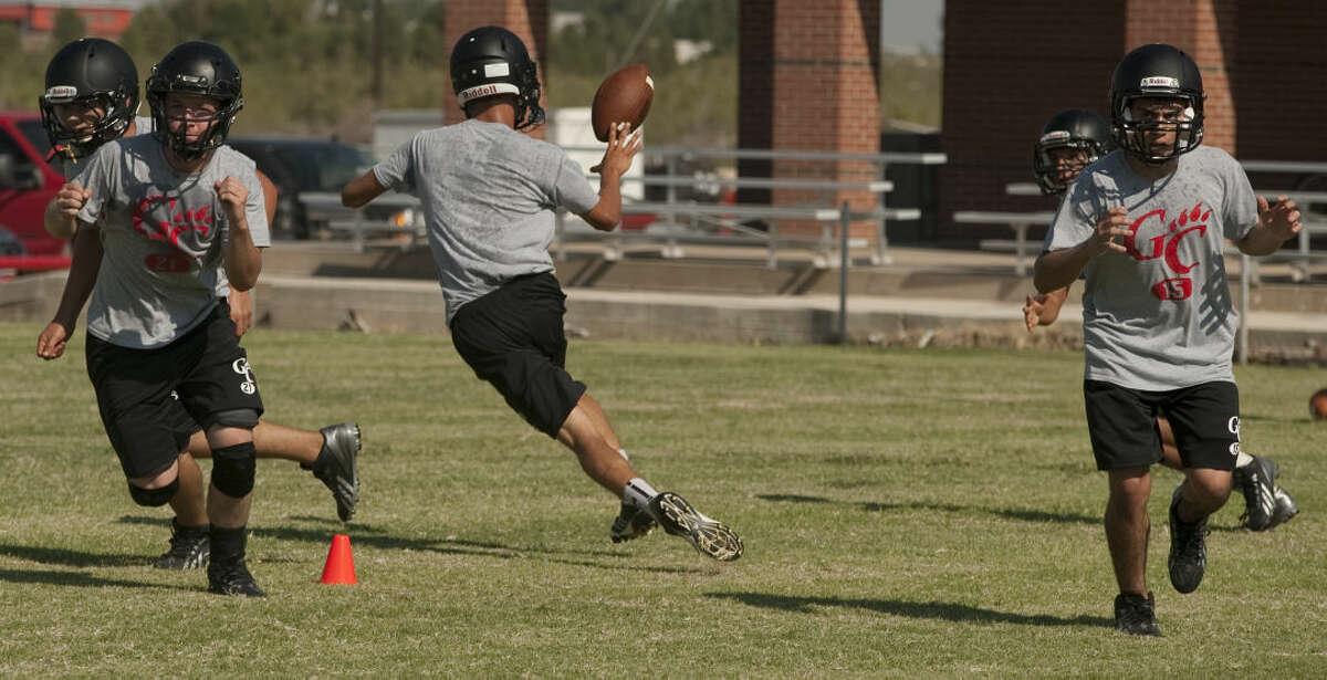 Garden City players run drills and plays Thursday morning during practice. Tim Fischer\Reporter-Telegram