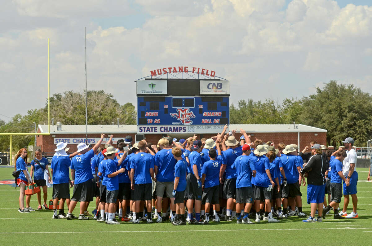 The Midland Christian football team meets during practice this fall. James Durbin/Reporter-Telegram