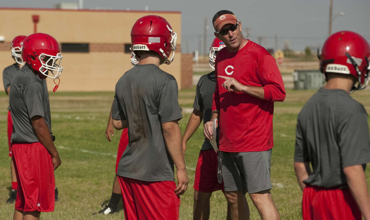 Coahoma's Coach Trey Gardner talks with players during practice. Tim Fischer\Reporter-Telegram