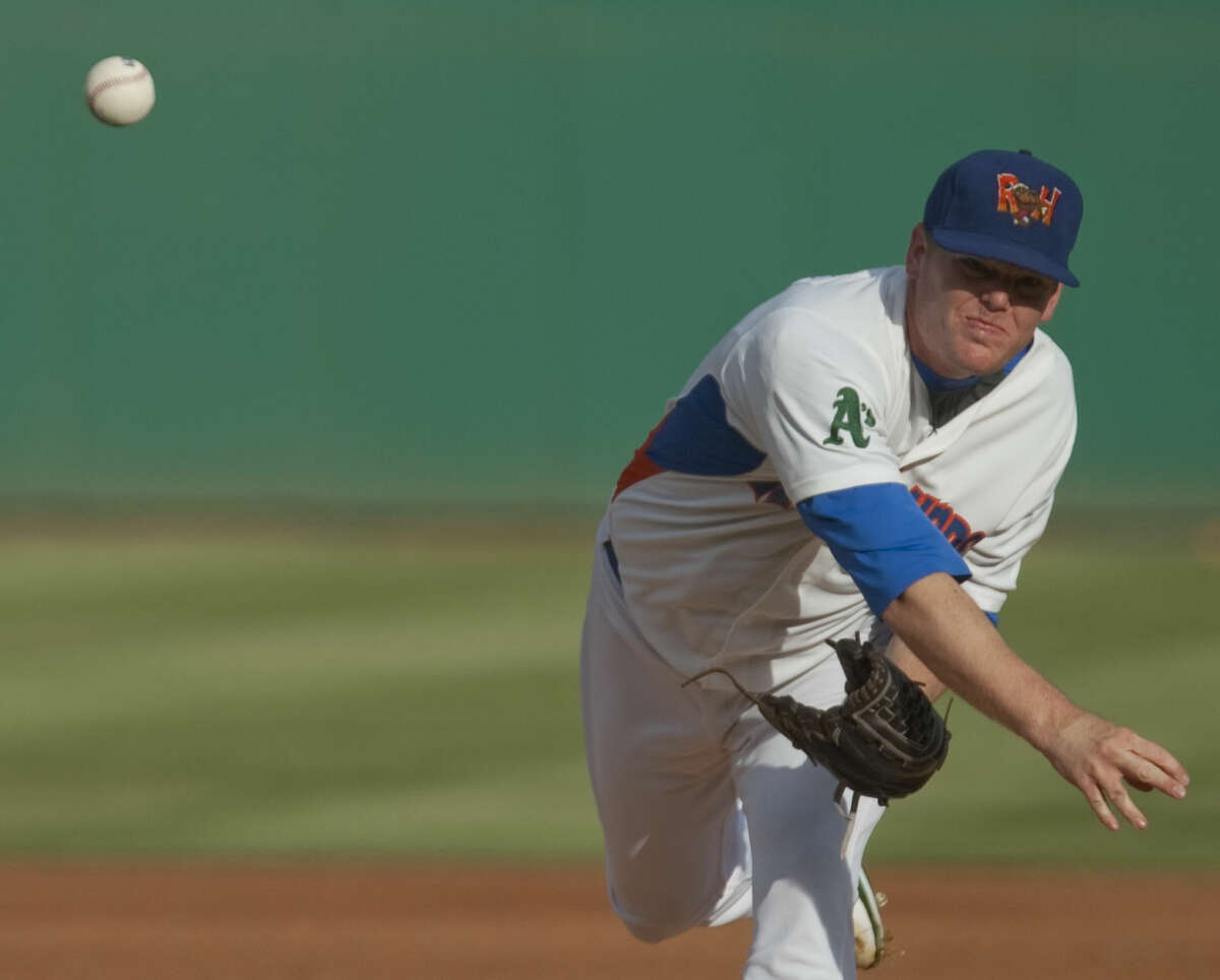RockHounds' Shawn Haviland delivers a pitch against the RoughRiders Monday at Security Bank Ballpark. Tim Fischer\Reporter-Telegram