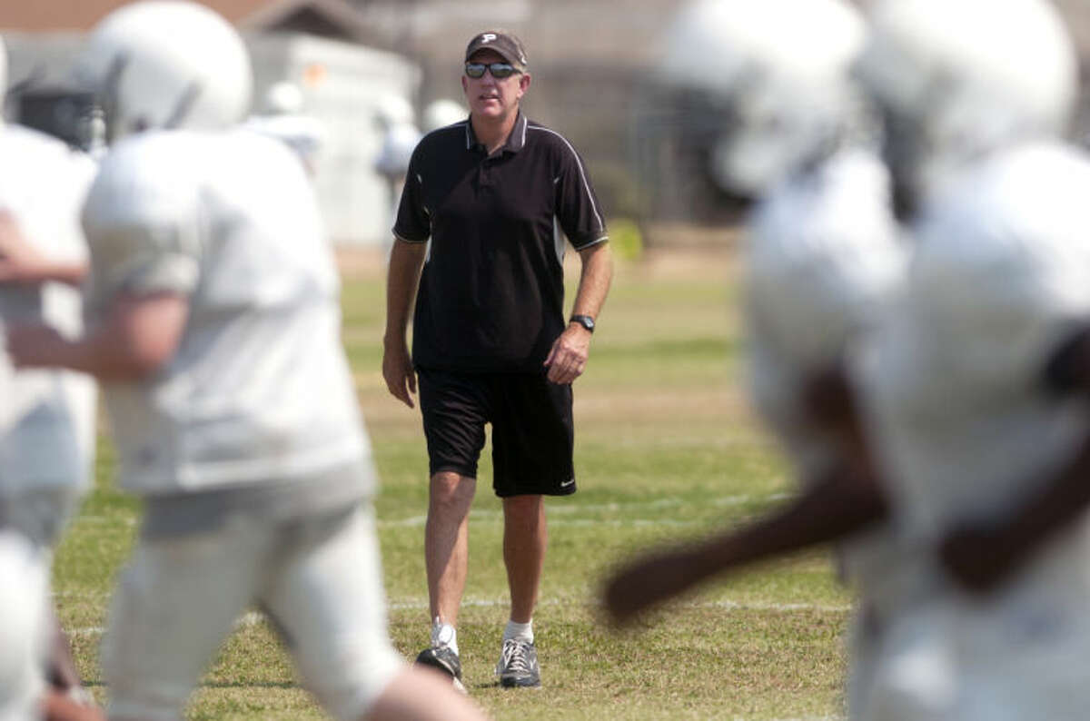 Permian coach Blake Feldt looks on during team practice last year at Permian. James Durbin/Reporter-Telegram
