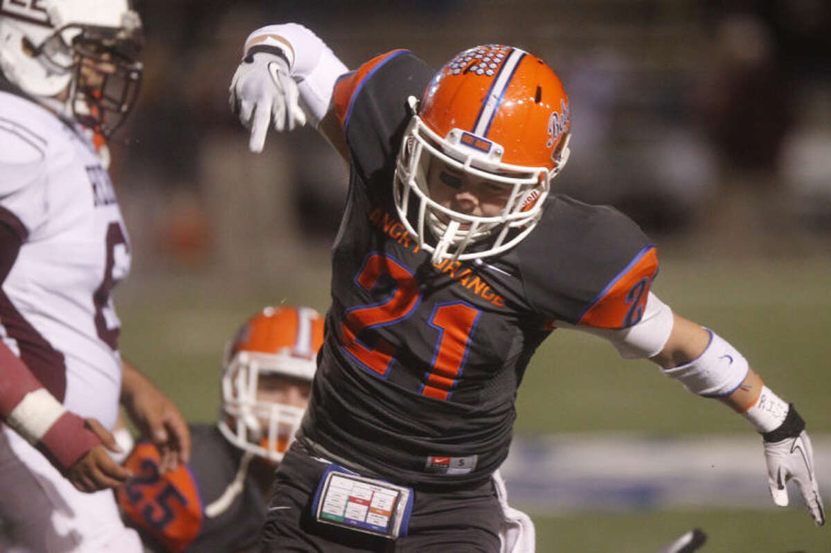 Patrick Dove/Standard-Times Central High School's Connor Frank celebrates a strong defensive stand Friday night during a District 2-5A game against Midland Lee at San Angelo Stadium. shot/archived 11.08.13