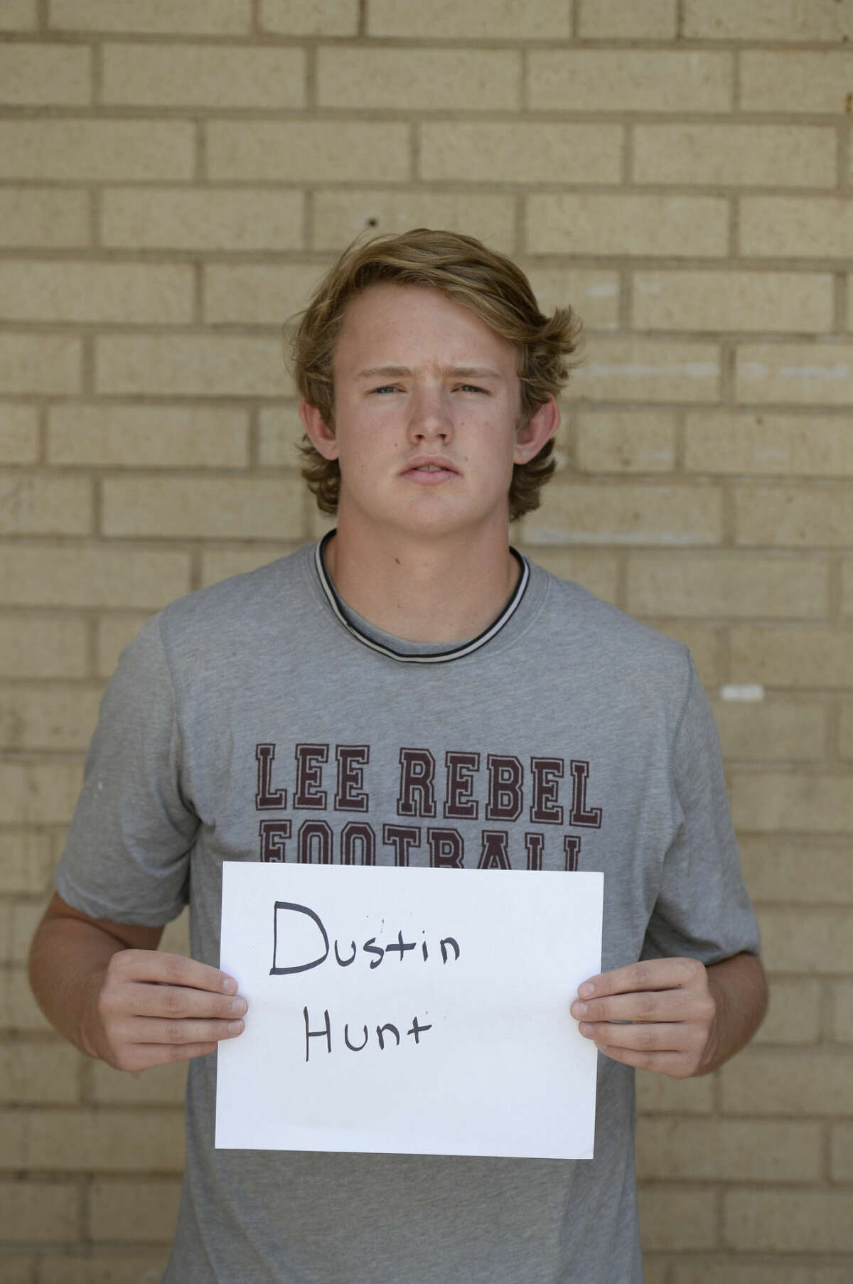 Lee High School football mugs 2015 - Dustin Hunt James Durbin/Reporter-Telegram