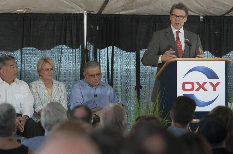 Gov. Rick Perry speaks Tuesday morning during the ground breaking ceremony for OXY Midland Office Complex. Tim Fischer\Reporter-Telegram Photo: Tim Fischer
