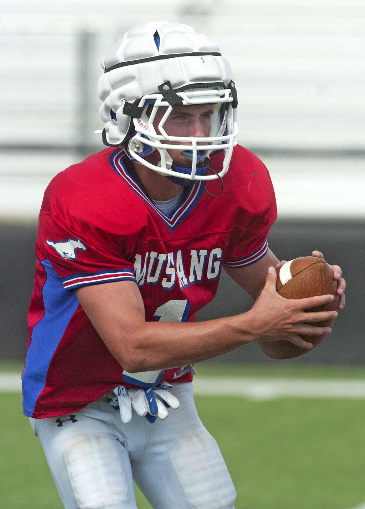 Midland Christian quarterback McLane Mannix during practice Wednesday at Mustang Field. James Durbin/Reporter-Telegram