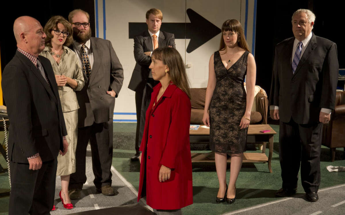 The cast gives Becky (Pam Keel) the look. Michael Fields as Joe, Baily Howard Beard as Ginger, Daniel Collins as Steve, Jason Kelliher as Chris, Samatha Spencer as Kenni and Andy Salcedo as Walter in MCT's production of 'Becky's New Car.'