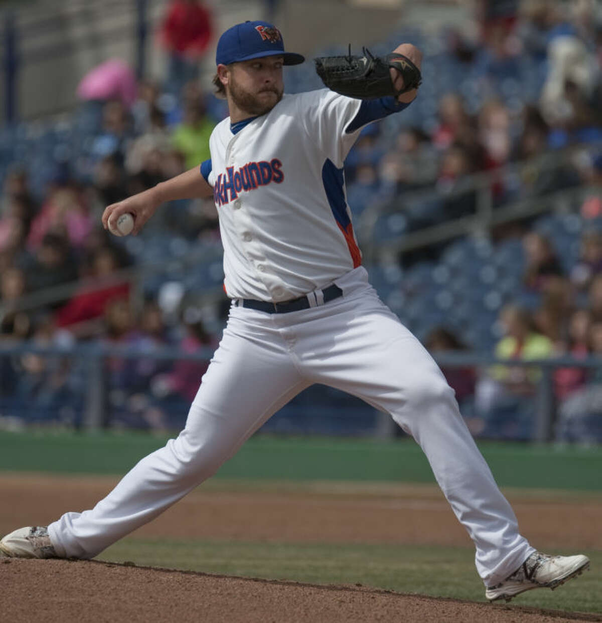 RockHounds' starting pitcher, Nate Long, delivers a pitch against Frisco Tuesday at Security Bank Ballpark. Tim Fischer\Reporter-Telegram