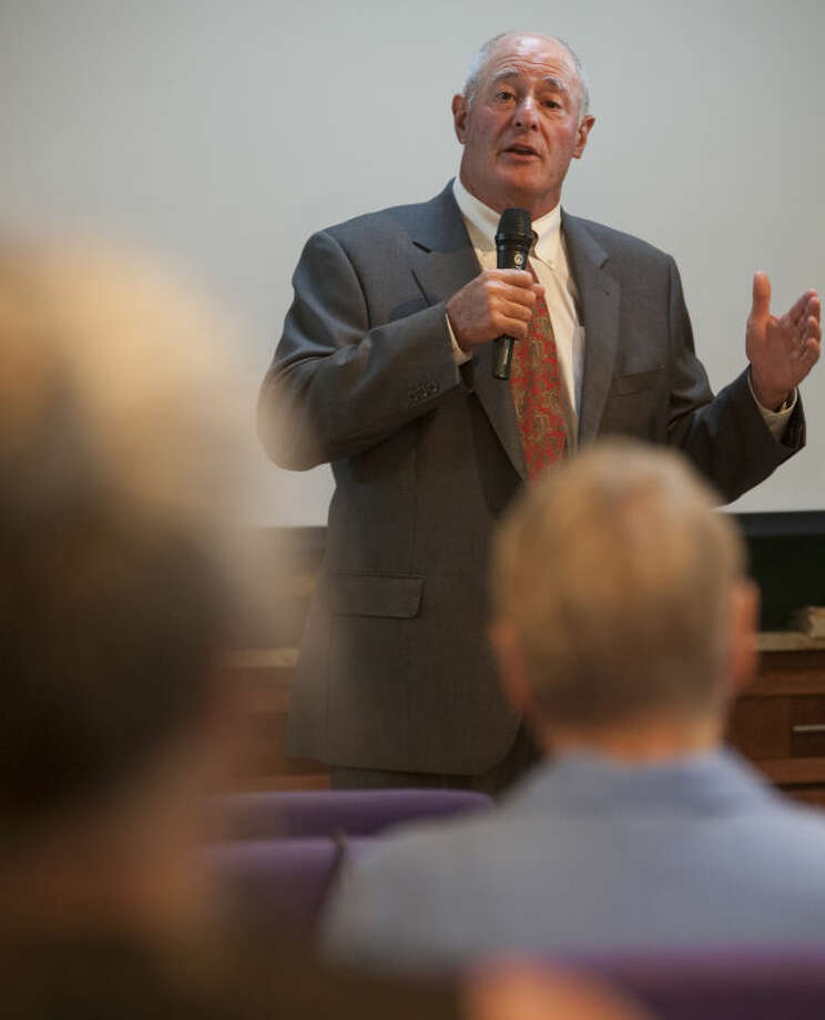 Texas Senator Kel Seliger speaks Tuesday at Choose Life Midland to help commemmorate the years spent protesting abortions at Planned Parenthood after the facility closed last week. Tim Fischer\Reporter-Telegram Photo: Tim Fischer