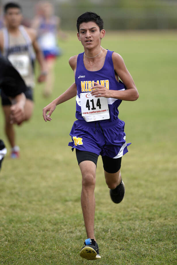 Midland High's LJ Mendez finishes ninth in the Tall City Invitational varsity boys cross-country race with a time of 20:06.57 on Saturday, Aug. 29, 2015, at Beal Park. James Durbin/Reporter-Telegram Photo: James Durbin