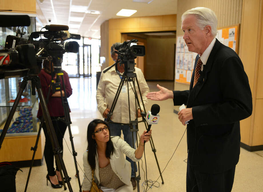 University of Texas of the Permian Basin President David Watts talks about safety on campus following a reported sexual assault that occurred Sunday at university student housing. Photo: Mark Sterkel | Odessa American