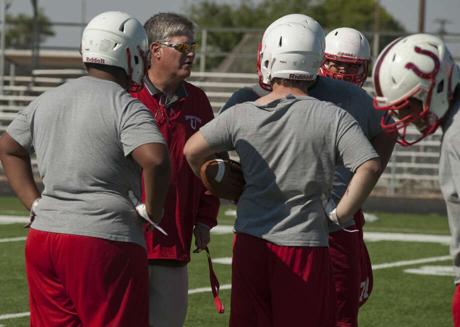 Odessa High coach Ron King works with his players during practice Thursday morning. Tim Fischer\Reporter-Telegram Photo: Tim Fischer