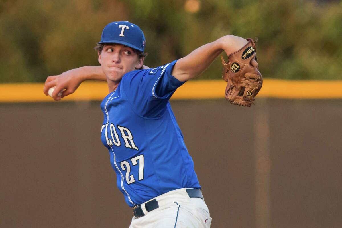 Taylor pitcher Trey morris (27) is pulled in the first inning after giving up 8 runs in the Class 6A Region III Bi-District Round high school baseball playoff game at Ashmore Field on Friday, May 6, 2016, in Houston.