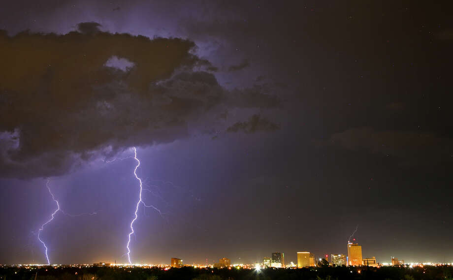Lightning strikes east of downtown Midland after thunderstorms swept across the area in a Reporter-Telegram file photo. Photo: James Durbin