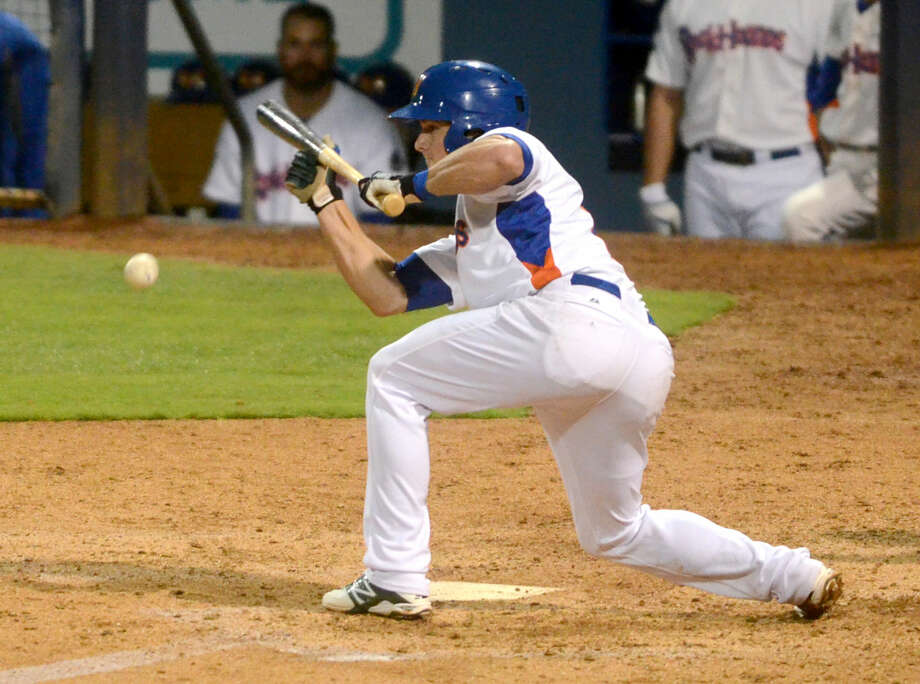 Rockhounds Matt Chapman bunts against Frisco in the Texas League South Division championship game on Saturday at Security Bank Ballpark. James Durbin/Reporter-Telegram Photo: James Durbin